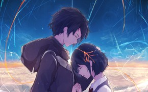 Картинка девушка, Любовь, аниме, арт, парень, Таки, tachibana taki, miyamizu mitsuha, Kimi no Na wa, Твоё …