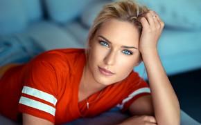 Обои глаза, взгляд, Девушка, блондинка, Lods Franck