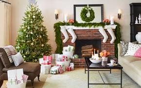 Картинка украшения, уют, елка, Новый Год, Рождество, подарки, камин, гостиная