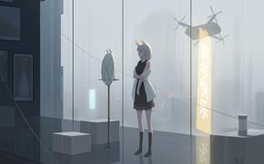 Картинка девушка, комната, дождь, фэнтези