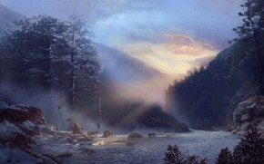 Картинка Winter, Hudson River, Illustration, Hudson River inspired forest, Wild west, by Louise Meijer, Louise Meijer