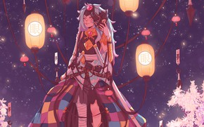 Картинка Ночь, Фэнтези, Самурай, Fantasy, Катана, Samurai, Illustration, Athena, Фонарики, Characters, Персонажи, Катаны, Иллюстрация, Aesthetics, Эстетика, …