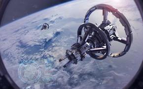 Картинка Небо, Облака, Планета, Космос, Иллюминатор, Clouds, Sky, Арт, Space, Art, Космические Корабли, Космический Корабль, Planet, …