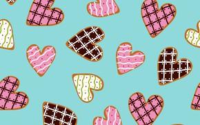 Картинка фон, вектор, печенье, сердечки