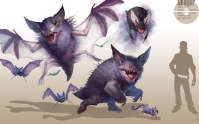Картинка арт, летучие мыши, покемон, pokemon