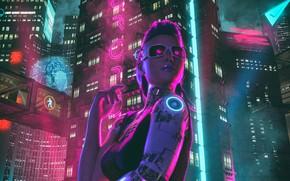 Обои Девушка, Ночь, Город, Neon, sci-fi, Киборг, Cyborg, Cyberpunk, Synth, Retrowave, Synthwave, New Retro Wave, Futuresynth, ...