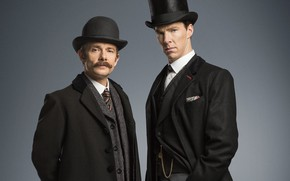 Картинка фон, Шерлок Холмс, шляпы, костюмы, Sherlock, Sherlock BBC, Sherlock Holmes, Джон Ватсон, Безобразная невеста, Sherlock …