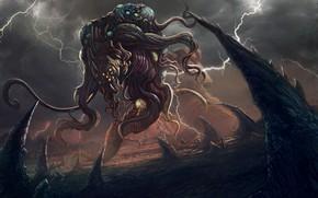 Картинка Монстр, Молнии, Демон, Фантастика, Illustration, Demon, Characters, Lovecraft, Creatures, Walter Brocca, by Walter Brocca, Йог ...