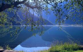 Обои озеро, синева, Норвегия, Eidsvatnet