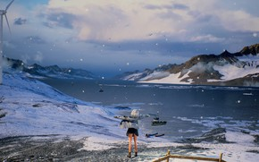 Картинка девушка, снег, горы, природа, озеро, by rengreng