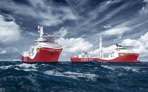 Картинка Океан, Море, Судно, Рендеринг, Helix, Два, Vessel, Offshore, Siem Helix, Siem, Offshore AS, Siem Helix …