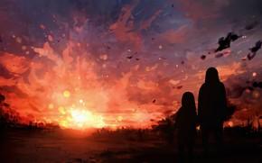 Картинка закат, природа, женщина, девочка
