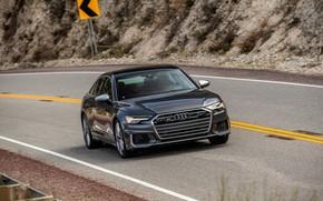 Картинка Audi, седан, на дороге, Audi A6, 2020, Audi S6, US-version