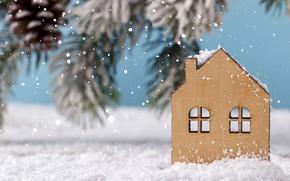 Картинка зима, снег, украшения, Новый Год, Рождество, Christmas, winter, snow, New Year, decoration, Merry, fir tree, …