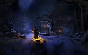 Картинка деревья, ночь, лодка, человек, развалины, фонарь