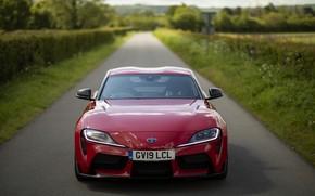 Картинка красный, купе, Toyota, вид спереди, Supra, пятое поколение, mk5, двухместное, 2019, UK version, GR Supra, …