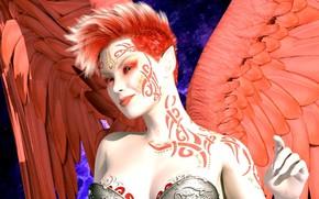 Картинка девушка, ангел, рыжая