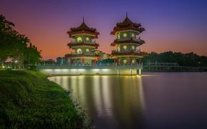 Картинка огни, Азия, Сингапур, пагода, Китайские сады