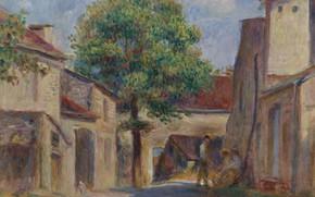 Картинка пейзаж, дом, картина, Пьер Огюст Ренуар, Pierre Auguste Renoir, Двор Фермы в Эссуа