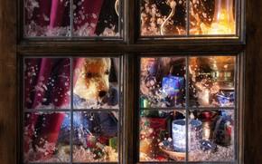 Картинка лампа, окно, мороз, Рождество, мишка, кружка, Новый год