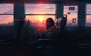 Картинка девушка, солнце, закат, арт, автобус, art, Aenami, by Aenami, Alena Aenami, 2019, by Alena Aenami, …