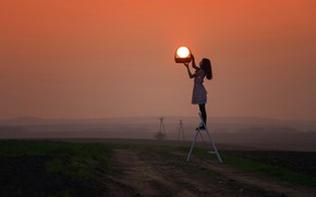 Картинка girl, grass, twilight, photography, landscape, nature, sunset, photographer, model, sun, dusk, environment, situation, basket, path, …