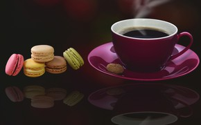Обои кофе, печенье, десерт, миндальное
