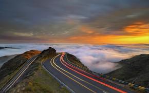 Картинка дорога, небо, горы, Mountains, Rush Hour, Madeira