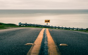 Картинка дорога, море, поворот