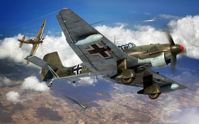Картинка Hawker Hurricane, Ju-87, Luftwaffe, Пикирующий бомбардировщик, Ju.87R-2