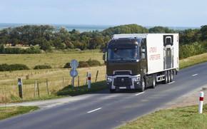 Картинка дорога, поле, грузовик, Renault, седельный тягач, съезд, 4x2, полуприцеп, Renault Trucks, T-series