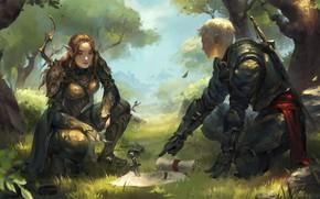 Картинка girl, sword, fantasy, forest, armor, trees, boy, map, artist, weapons, elf, bow, artwork, warrior, fantasy …