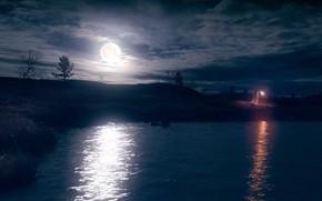 Картинка небо, девушка, ночь, природа, луна, берег, платье, фонарь, лунный свет, водоем