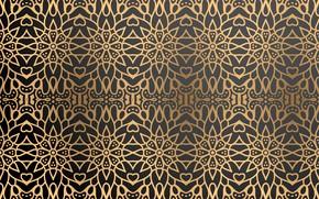 Картинка фон, золото, узор, черный, gold, Текстура, background, color, Орнамент, ornamental