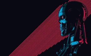 Картинка Минимализм, Рисунок, Фон, Арт, Art, Robot, Terminator, Терминатор, T-800, 800, The Terminator, T-800 (CSM 101)