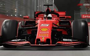 Картинка трасса, гоночный автомобиль, Ferrari SF90, F1 2019
