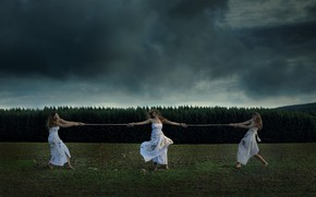 Картинка Dead leaves, Situation, Dress, Grass, Mood, Rope, Girls, Moods, Clouds, Dirt, Nature, Forest, Trees, Dark …