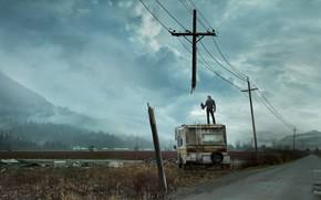 Картинка дорога, небо, крест, противостояние, стивен кинг, провода. лэп, the stand, рендал флегг