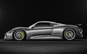 Картинка Авто, Машина, Серый, Car, Автомобиль, Render, Spyder, 918, Рендеринг, Вид сбоку, Porsche 918 Spyder, Серый …