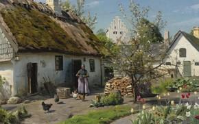 Обои Весна в Хъёмбаеке, Spring in Hjembaek, Peder Mørk Mønsted, Петер Мёрк Мёнстед, датский живописец, 1924, ...