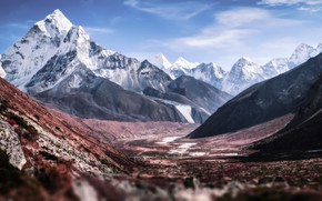 Картинка снег, пейзаж, горы, вершины гор