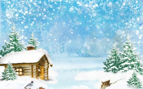Картинка зима, лес, снег, деревья, снежинки, дом, птица, арт, сугробы, ёлки, изба, брёвна, боке