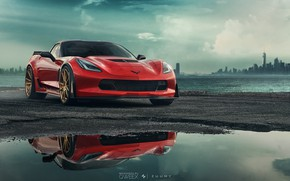 Картинка Авто, Corvette, Chevrolet, Машина, Спорткар, Sinister, Chevrolet Corvette C7, Mikhail Sharov, Transport & Vehicles, by ...