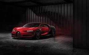 Картинка Красный, Черный, Машина, Bugatti, Фон, Диски, Sport, Garage, Колёса, Chiron
