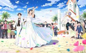 Картинка праздник, невеста, свадьба, жених