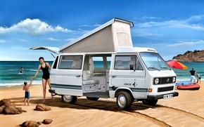 Картинка Пляж, Девушка, Камни, Ребёнок, Volkswagen T3, Camper
