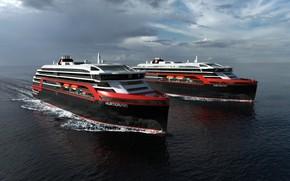Картинка Океан, Море, Лайнер, Судно, Рендеринг, Пассажирское судно, Cruise Ship, Passenger Ship, Cruise Line, Passenger Vessel, ...