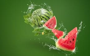 Картинка вода, брызги, зеленый, фон, всплеск, арбуз, ломтики