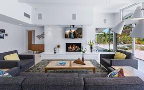 Картинка дизайн, интерьер, камин, ретро стиль, гостиная, Midcentury Home, by H3K Design, high garden