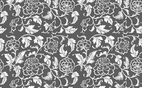 Картинка цветы, ретро, серый, фон, узор, винтаж